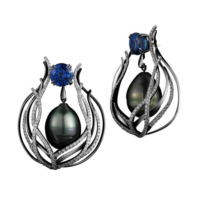 Alexandra Mor sapphire Tahitian pearl earrings