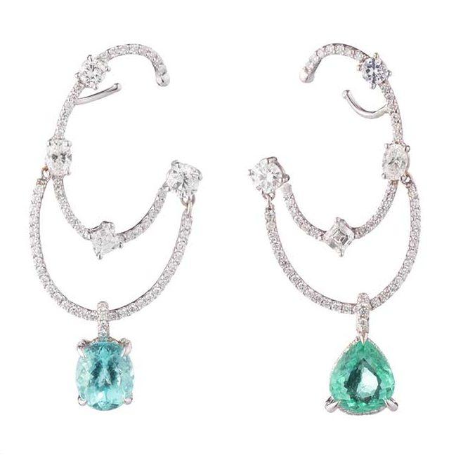 Ana Khouri diamond and Paraiba tourmaline earrings