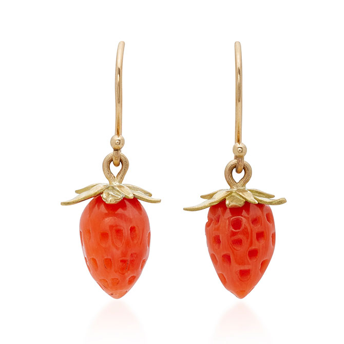 Annette ferdinandsen red coral strawberry earrings
