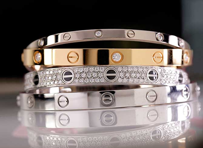 Cartier Love bracelet stack