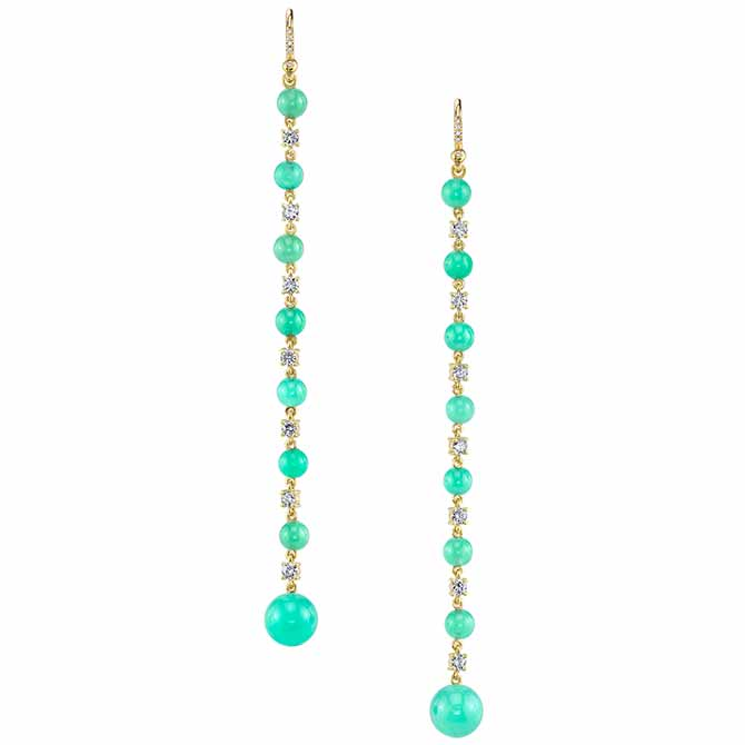 Irene Neuwirth chrysoprase line earrings