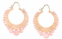 Irene Neuwirth pink opal hoop earrings