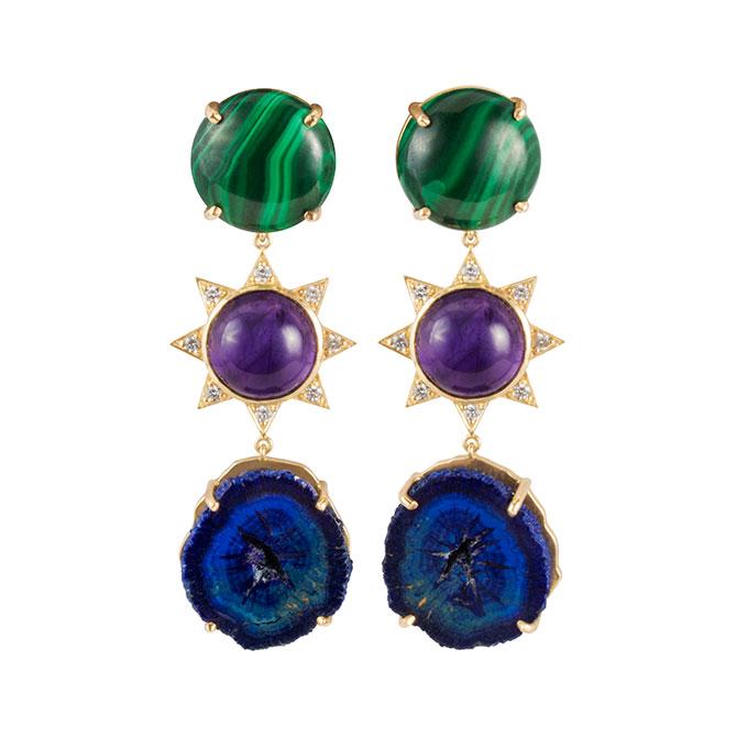 M Spalten triple stone starburst earring
