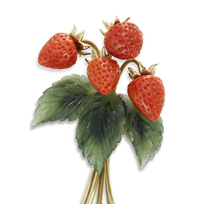 MS Rau Antiques strawberry brooch