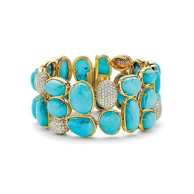 Pamela Huizenga gold and turquoise bracelet