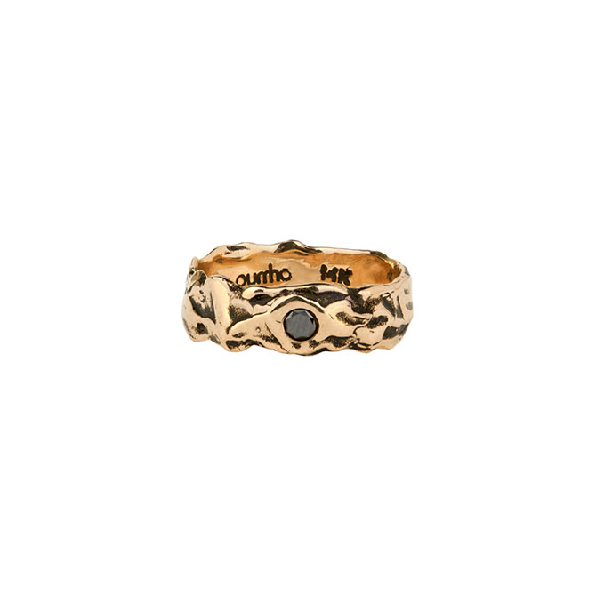Pyrrha 14k black diamond wide band