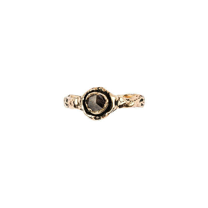 Pyrrha 14k gold brown diamond ring