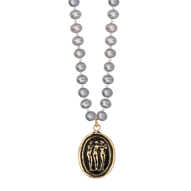 Pyrrha three graces pearl necklace