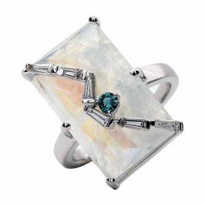 Laura Medine rainbow moonstone ring
