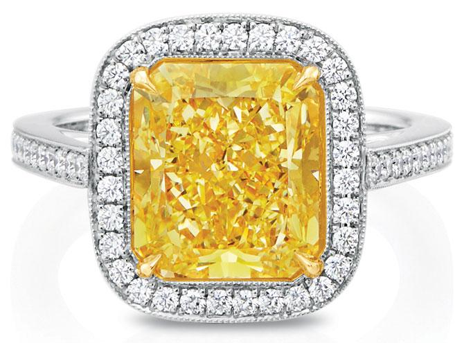 SH Silver yellow diamond ring