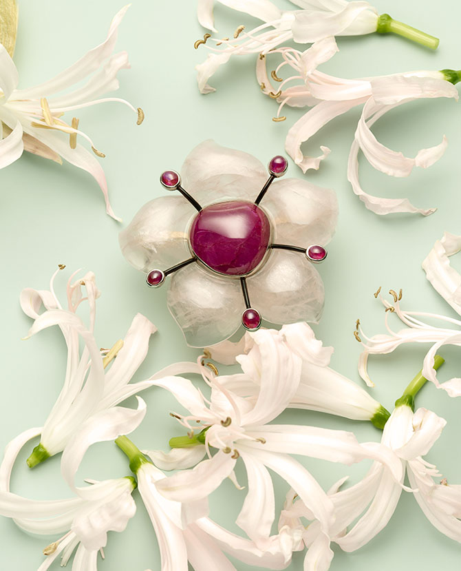 belperron ruby rose quartz enamel brooch