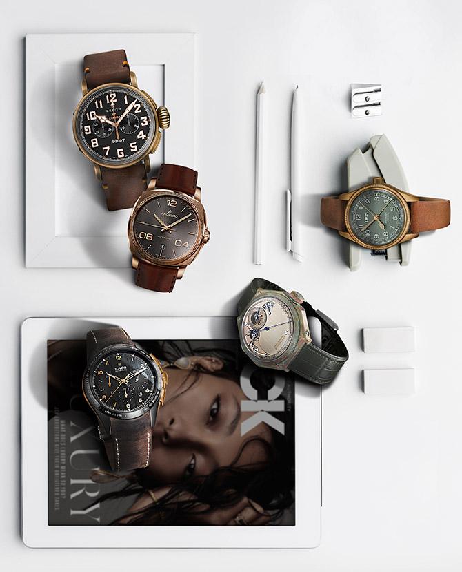 bronze accent watches