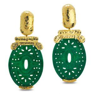 david webb carved jade earrings