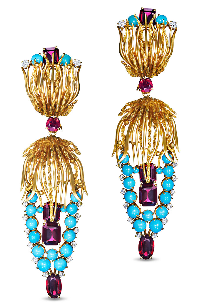 fred leighton 1960s turquoise garnet earrings