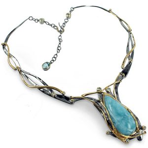 goldlip silver necklace with larimar