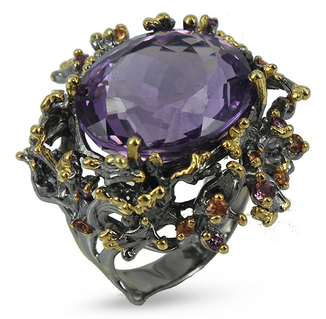 goldlip silver ring with amethyst and sapphires