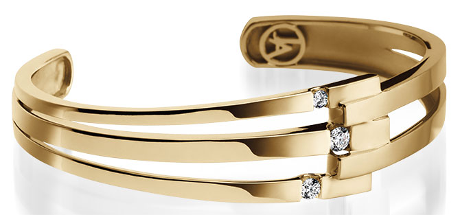 john atencio originate diamond and yellow gold cuff