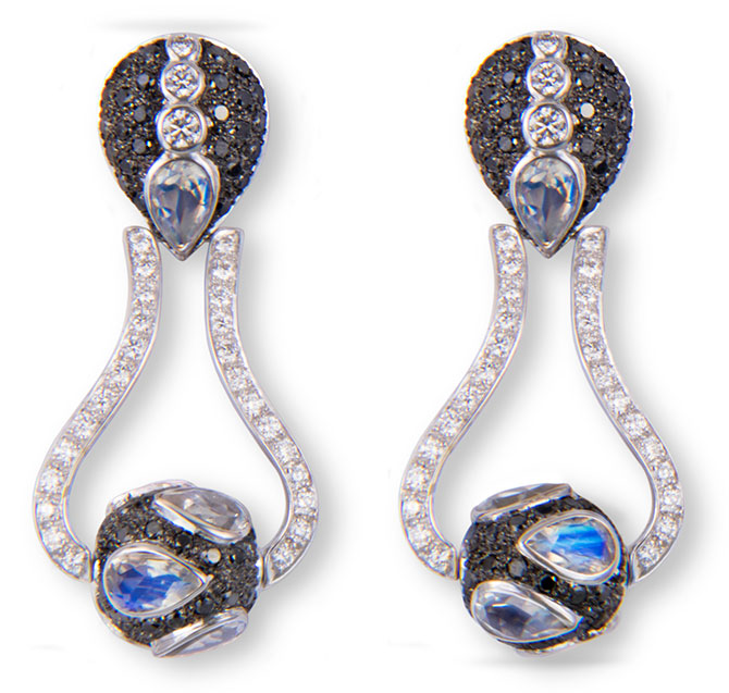 m spalten spinning orb moonstone diamond earrings