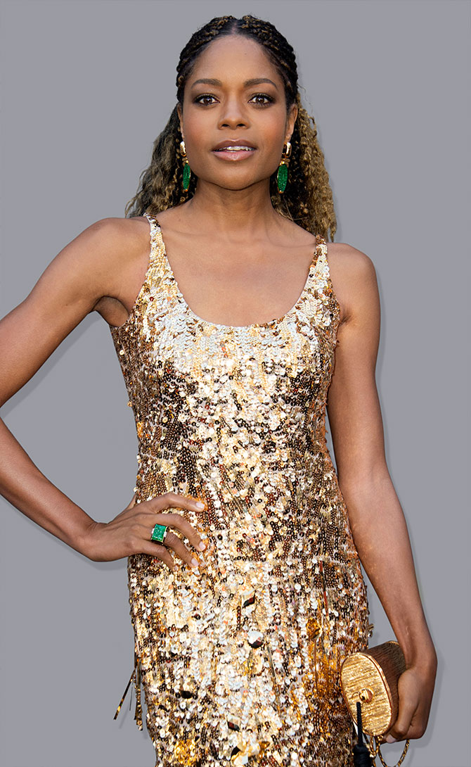 naomie harris gold sequin dress