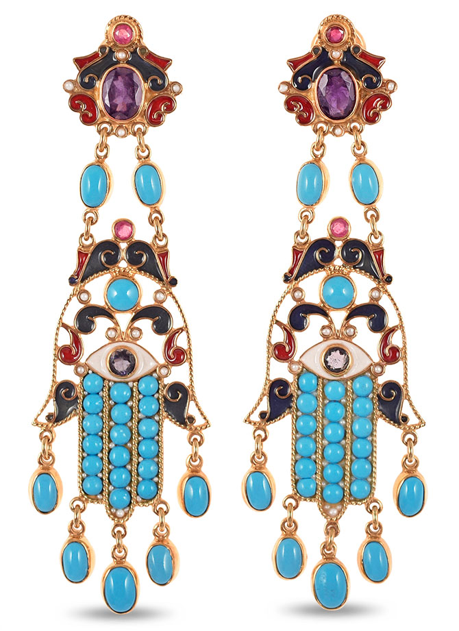 percossi papi turquoise ruby enamel earrings