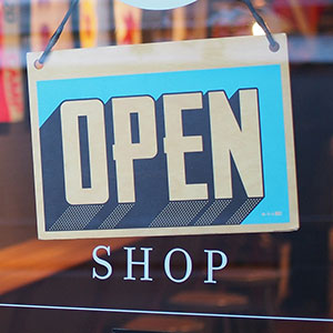 Open sign on store window