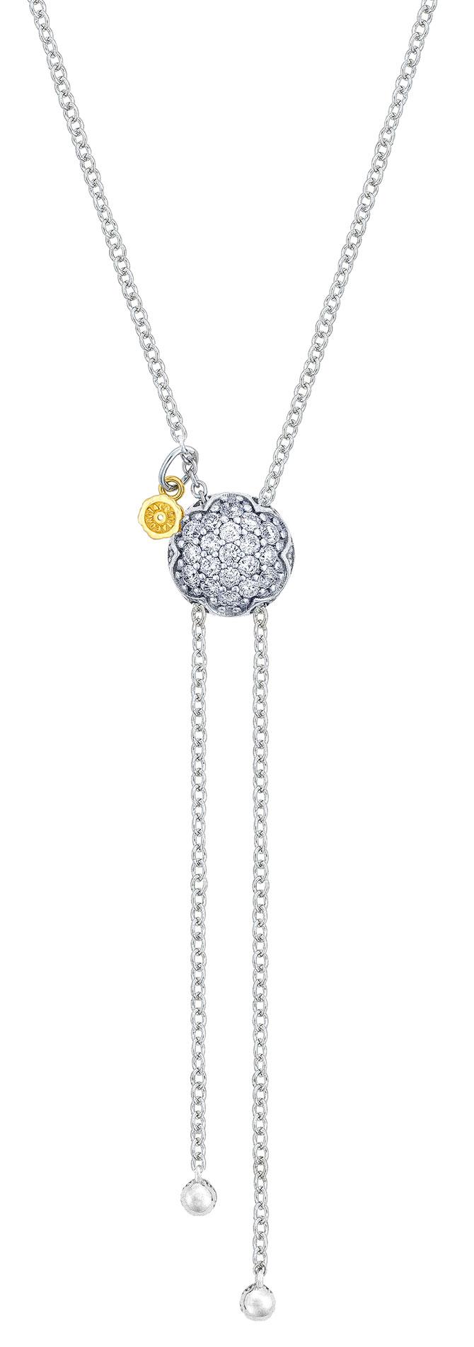 tacori sonoma mist dew drop silver diamond chain