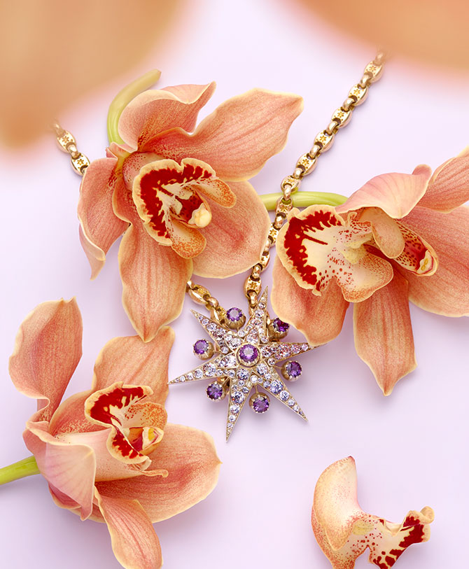 victorian amethyst diamond star necklace