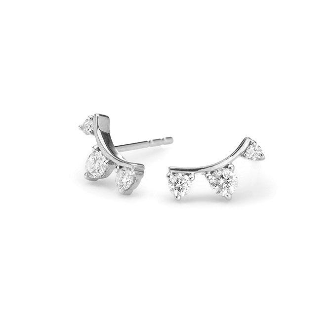 Adina Reyter diamond curve post earrings in sterling silver