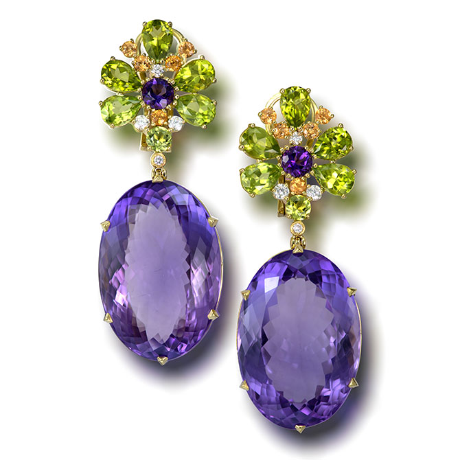 Alex Soldier Blossom amethyst earrings