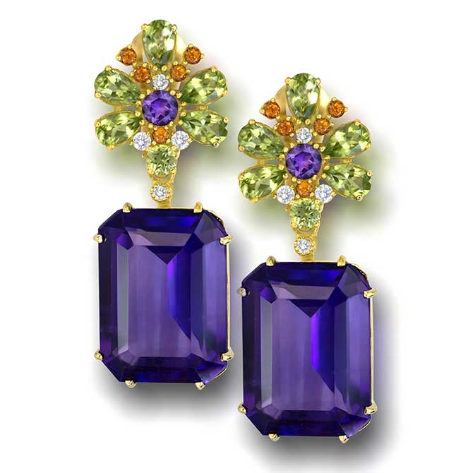 Alex Soldier Blossom amethyst square earrings