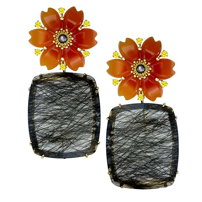 Alex Soldier Blossom carnelian quartz earrings