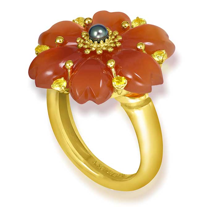 Alex Soldier Blossom carnelian ring