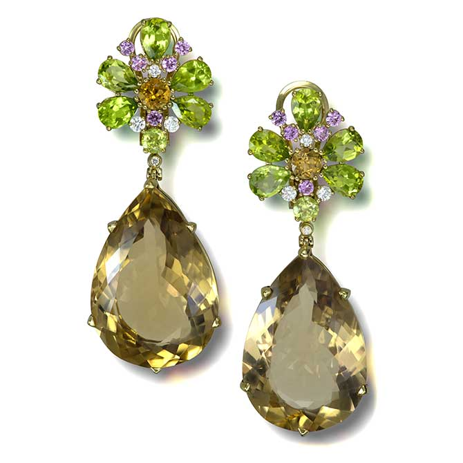 Alex Soldier Blossom champagne quartz earrings