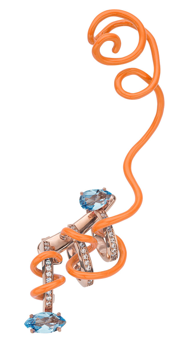 Bea Bongiasca topaz and diamond ear crawler