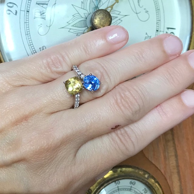 Blue sapphire heliodor bypass ring