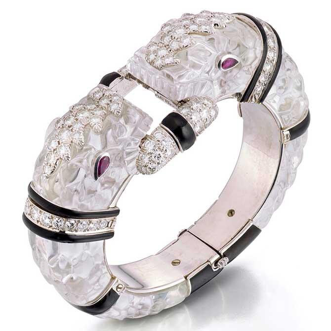 David Webb rock crystal and diamond bracelet