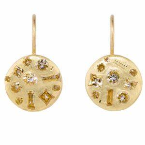 Polly Wales Crystal Disc diamond earrings