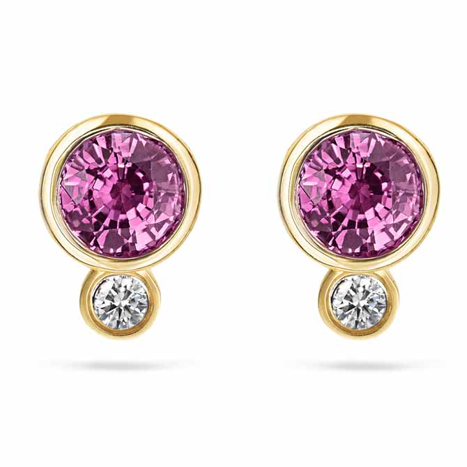 Annie James pink sapphire earrings