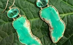 Elisabeth Bell chrysoprase and emerald earrings