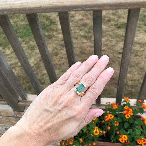 Emerald cut blue green tourmaline ring