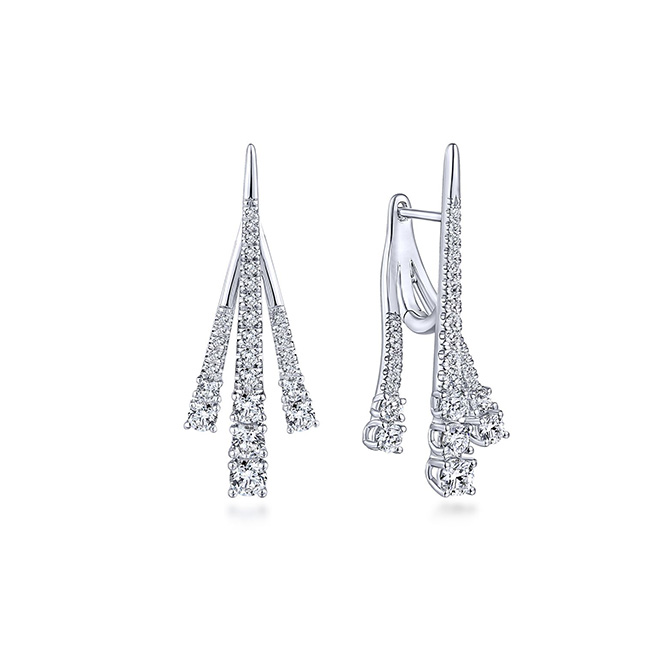 Gabriel and Co. tapered three strand earrings