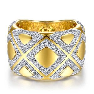 Gabriel and Co. Amavida ring with criss cross diamonds