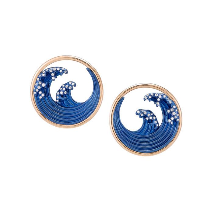 Gauraude blue titanium and diamond earrings