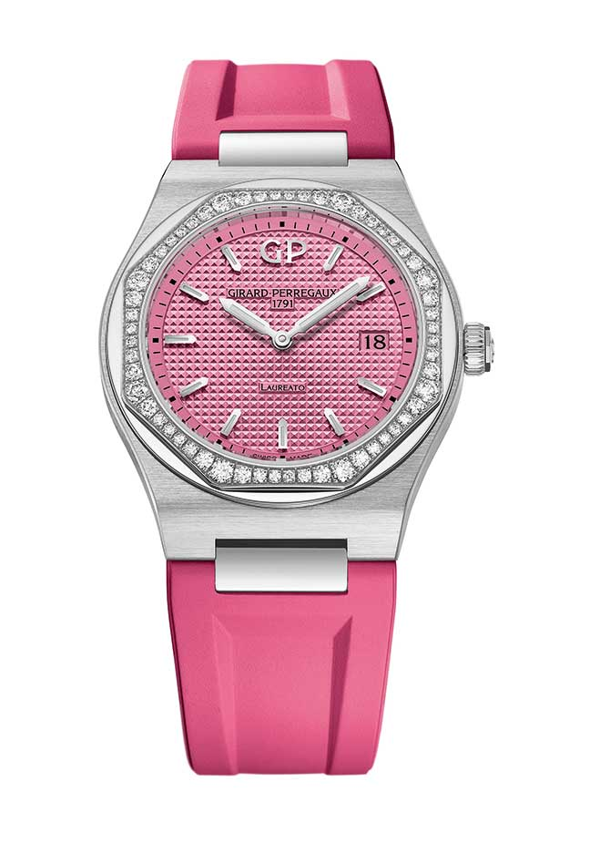 Girard Perregaux Laureato pink with rubber strap