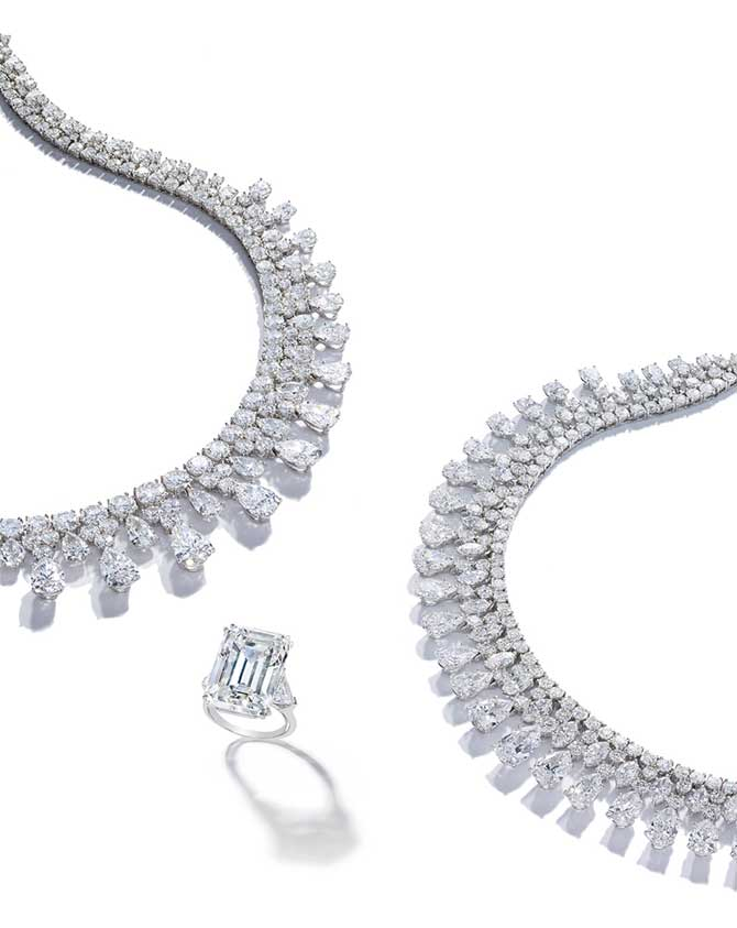 Harry Winston diamond necklaces and ring
