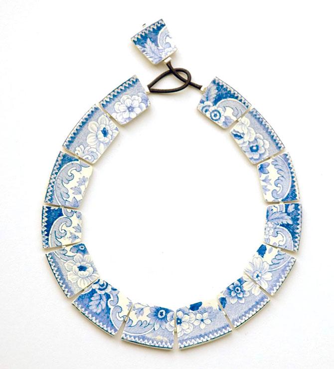 Julie Decubber blue and white porcelain necklace