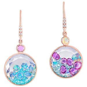 Moritz Glik tourmaline opal sapphire shaker earrings