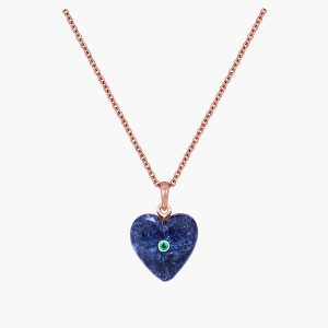Nana Fink Blue Heart Rose gold Sodalite and Emerald pendant