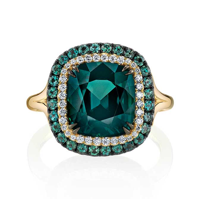 Omi Prive blue green spinel ring
