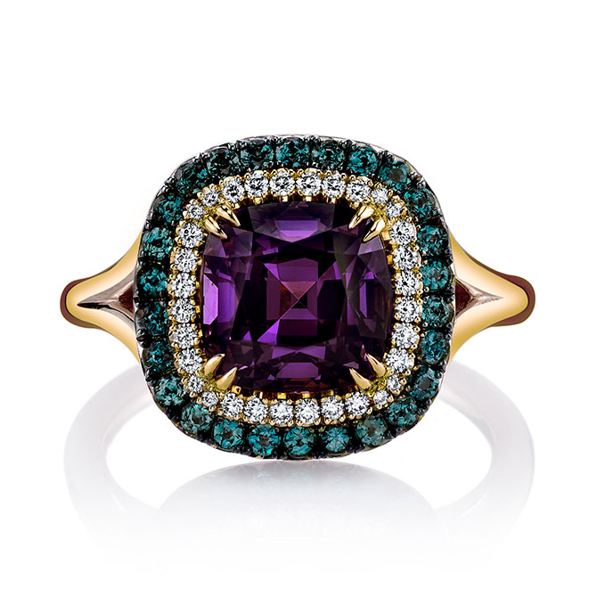 Omi Prive purple spinel ring with alexandrite and diamonds